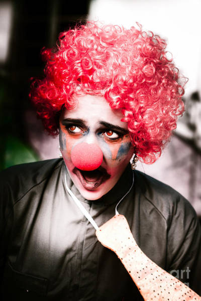 Chilling Photograph - Ms Frightened The Scared Clown by Jorgo Photography - Wall Art Gallery
