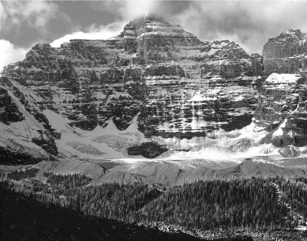 Photograph - 1m3435-bw-mt. Hungabee And Horseshoe Glacier by Ed  Cooper Photography