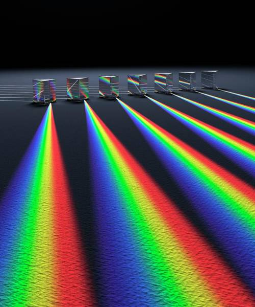 Photograph - Multiple Prisms With Spectra by David Parker