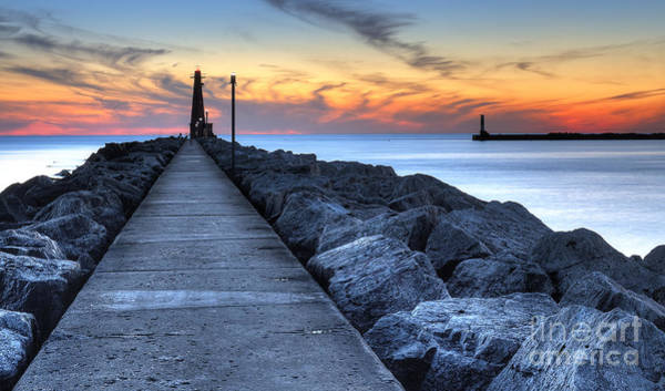 Two Harbors Photograph - Muskegon Pier And Lighthouse by Twenty Two North Photography