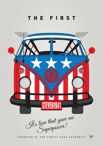 Volkswagen Wall Art - Digital Art - My Superhero-vw-t1-captain America	 by Chungkong Art