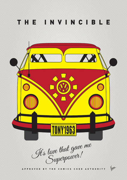 Volkswagen Wall Art - Digital Art - My Superhero-vw-t1-iron Man by Chungkong Art