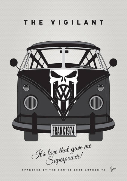 Wall Art - Digital Art - My Superhero-vw-t1-punisher by Chungkong Art
