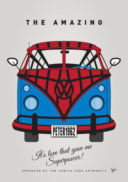 Volkswagen Wall Art - Digital Art - My Superhero-vw-t1-spiderman by Chungkong Art