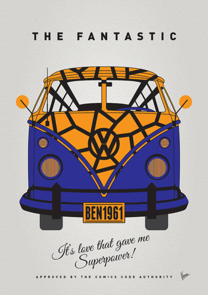 Volkswagen Wall Art - Digital Art - My Superhero-vw-t1-the Thing by Chungkong Art