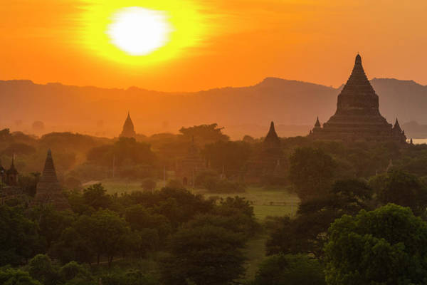 Bagan Photograph - Myanmar Bagan Temples At Sunset by Inger Hogstrom