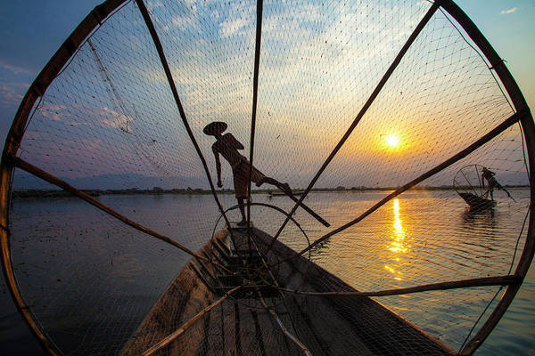Paddle Boats Photograph - Myanmar, Inle Lake by Jaynes Gallery