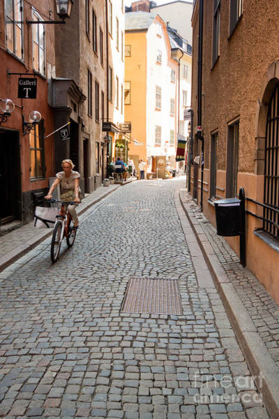 Photograph - Narrow Stockholm Street Sweden by Thomas Marchessault