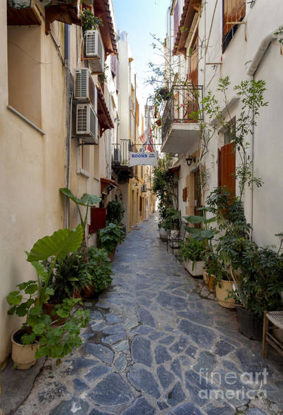 Taverna Photograph - Narrow Streets In Chania Greece by Frank Bach