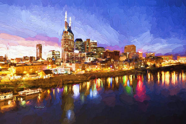 River Scene Mixed Media - Nashville Colors by Garland Johnson