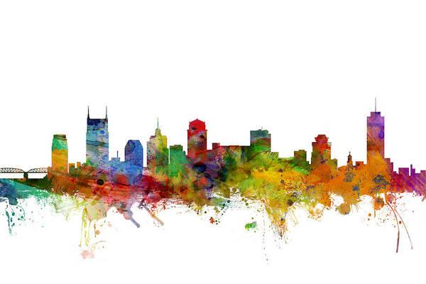 Usa Digital Art - Nashville Tennessee Skyline by Michael Tompsett