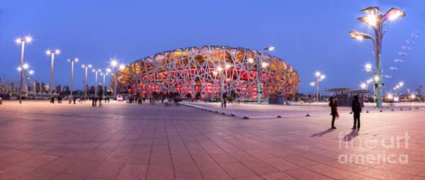Birds Nest Photograph - National Stadium Panorama Beijing China by Colin and Linda McKie