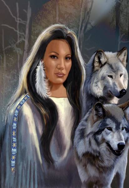 Maiden Wall Art - Painting - Native American Maiden With Wolves by Regina Femrite
