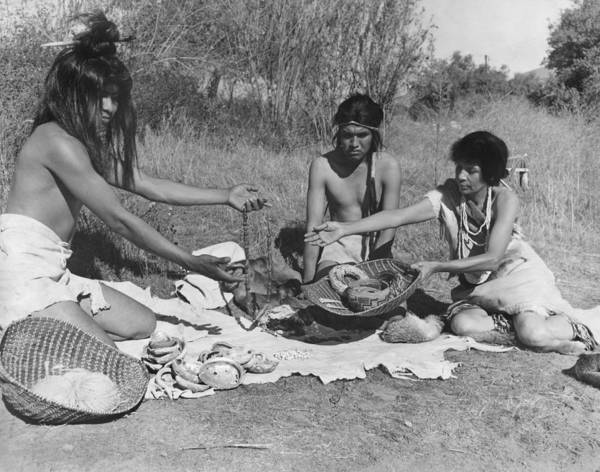 Photograph - Native American Traders by Underwood Archives Onia