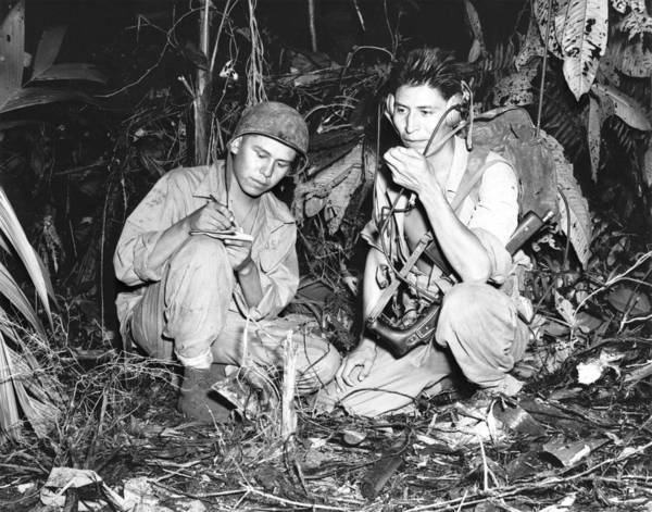 Code Talkers Photograph - Navajo Indians With A U.s. Marine by Everett