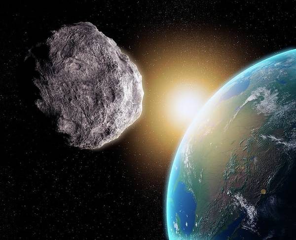 Near Earth Object Digital Art - Near-earth Asteroid, Artwork by Science Photo Library - Andrzej Wojcicki