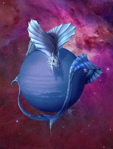 Wall Art - Painting - Neptune Dragon by MGL Meiklejohn Graphics Licensing