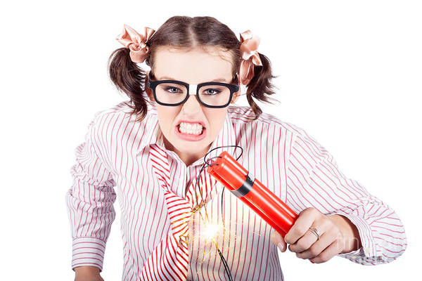 Anger Photograph - Nerd Business Woman Holding Exploding Time Bomb by Jorgo Photography - Wall Art Gallery