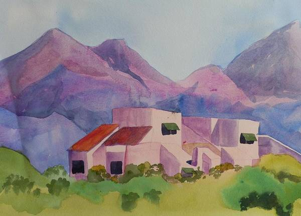 Elwood Blues Painting - Nestled In The Mountains by Jann Elwood