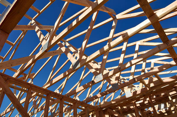 2x4 Wall Art - Photograph - New Home Under Construction by Brandon Bourdages