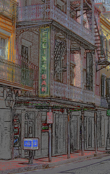 Mixed Media - New Orleans - Bourbon Street With Pencil Effect by Frank Romeo