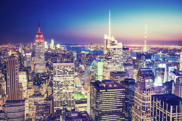 Fire Place Photograph - New York City Aerial View by Ferrantraite