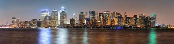 Wall Art - Photograph - New York City Manhattan Dusk Panorama by Songquan Deng