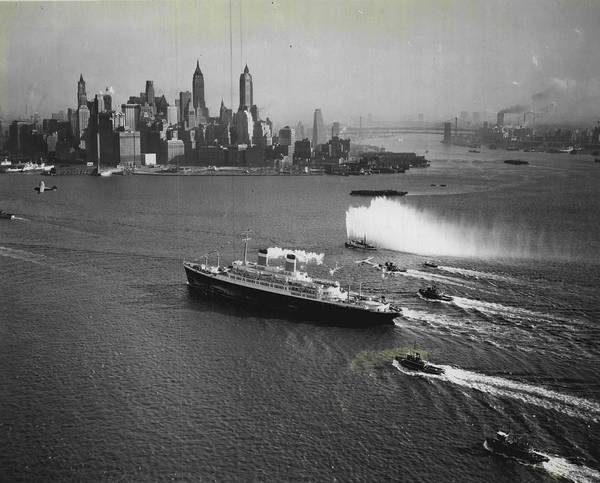 Cruise Ship Photograph - New York Gala Welcome by Retro Images Archive