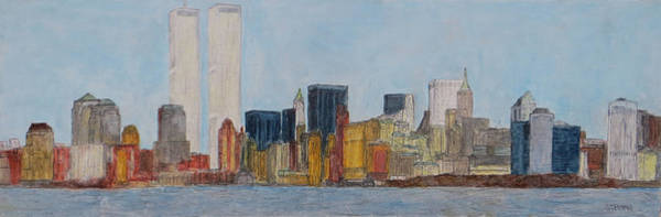 Twin Towers Drawing - New York Skyline by Jacob Stempky