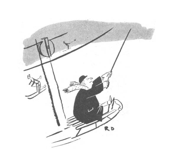Sled Drawing - New Yorker January 22nd, 1944 by Robert J. Day