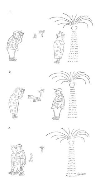 Tourism Drawing - New Yorker January 26th, 1952 by Saul Steinberg