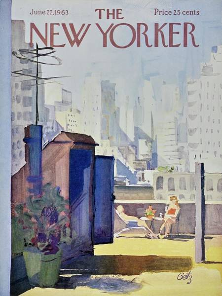 Roof Painting - New Yorker June 22nd 1963 by Arthur Getz