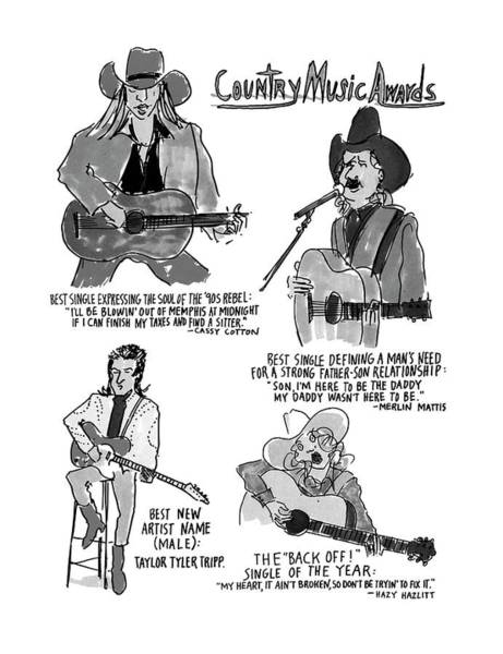 Country Music Drawing - New Yorker May 27th, 1996 by Michael Crawford