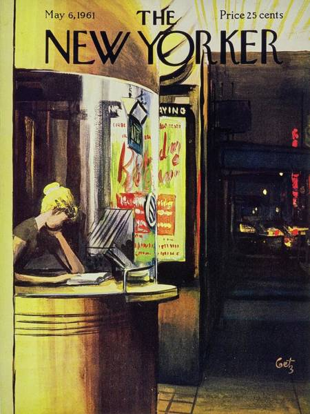 Night Painting - New Yorker May 6th 1961 by Arthur Getz