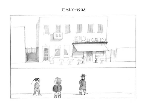 Italy Drawing - New Yorker October 7th, 1974 by Saul Steinberg