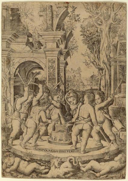 Wall Art - Drawing - Nicoletto Da Modena Italian, Active 1500-1512 by Quint Lox