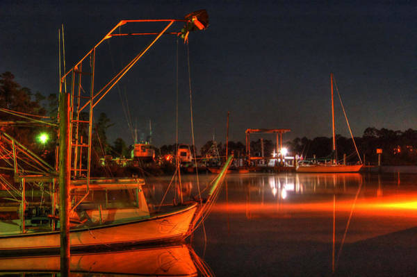 Digital Art - Night In The Harbor by Michael Thomas