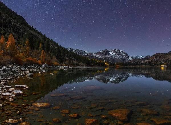 Night Sky Over June Lake Art Print
