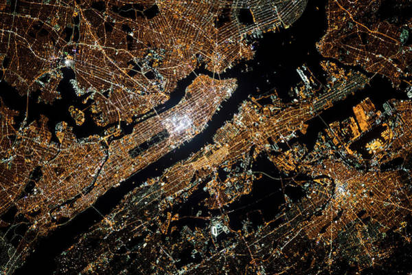 Iss Photograph - Night Time Satellite Image Of New York by Panoramic Images