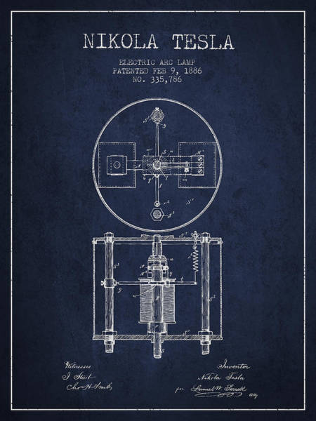 Electricity Digital Art - Nikola Tesla Patent Drawing From 1886 - Navy Blue by Aged Pixel