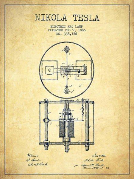 Electricity Digital Art - Nikola Tesla Patent Drawing From 1886 - Vintage by Aged Pixel