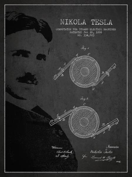 Electricity Digital Art - Nikola Tesla Patent From 1886 by Aged Pixel