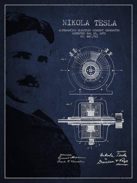 Exclusive Rights Wall Art - Digital Art - Nikola Tesla Patent From 1891 by Aged Pixel