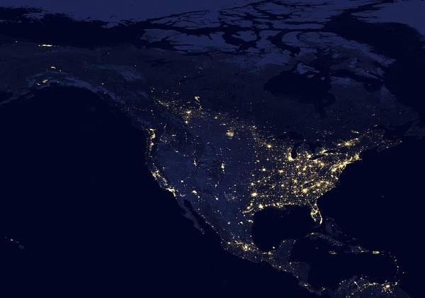 Suomi Photograph - North America At Night, Satellite Image by Science Photo Library