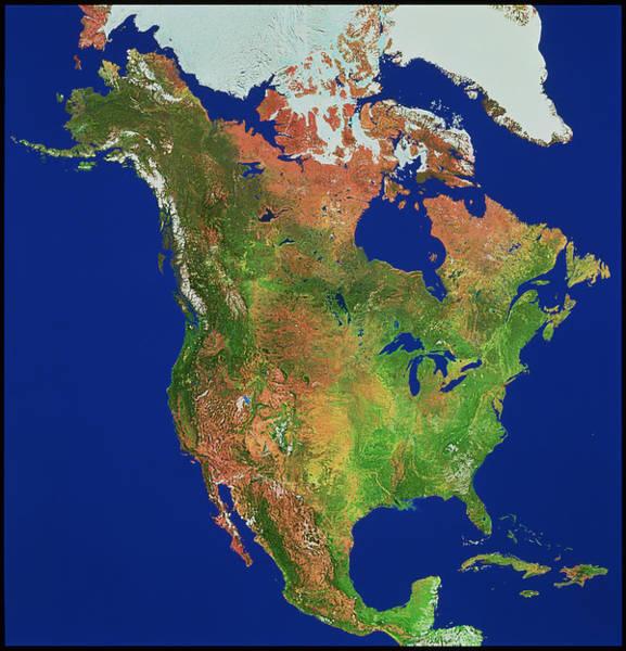 Gulf Of Alaska Photograph - North America by Worldsat International/science Photo Library
