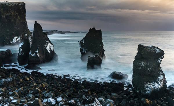 Basalt Columns Photograph - North Atlantic Coast During Winter by Martin Zwick