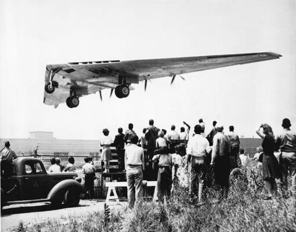 Bomber Photograph - Northrop's Flying Wing Bomber by Underwood Archives