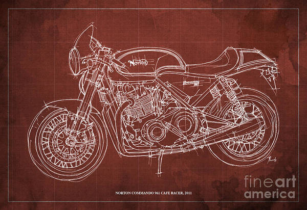 Wall Art - Drawing - Norton Commando 961 Cafe Racer 2011 by Drawspots Illustrations