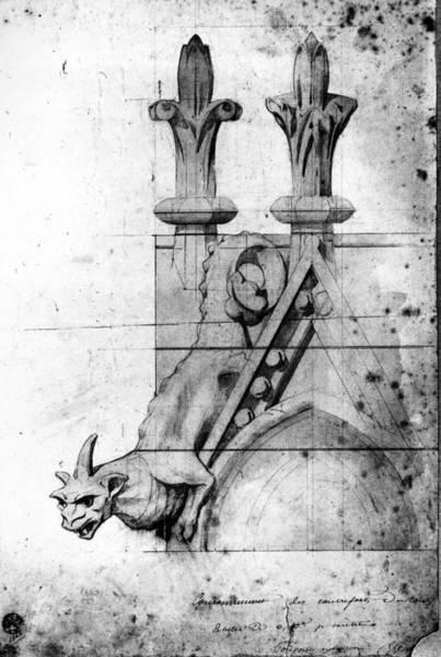 Notre Dame Drawing - Notre Dame Gargoyle by Granger