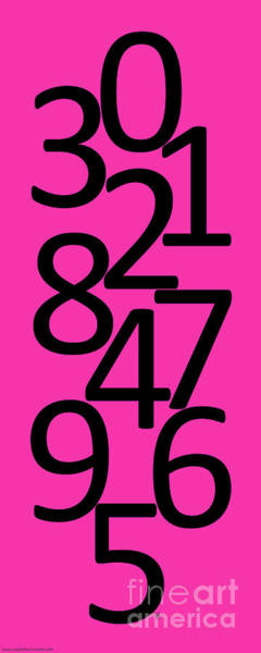 Wall Art - Digital Art - Numbers In Pink And Black by Jackie Farnsworth